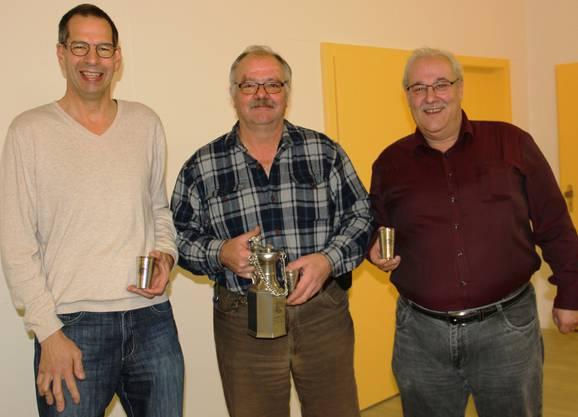 Vereinsmeister Lizenz (vl): Hanspeter Indergand (3.), Peter Gamper (1.), Albert Buchwalder (2.)