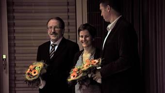 Priska Garbely übernimmt von Guido Schuler (links) das Präsidium des Kreisschulrates Buchs-Rohr, rechts der neue Vizepräsident Joel Blunier.