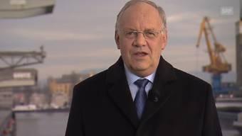 Aufzeichnung der Neujahrsansprache von Johann Schneider-Ammann für das Fernsehen in Basel am Rhein. Die Ausstrahlung der TV-Ansprache war für Freitagabend vorgesehen.