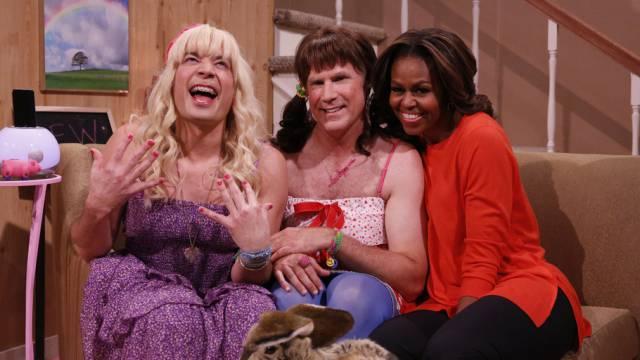 Michelle Obama mit den beiden Komikern (Archiv)