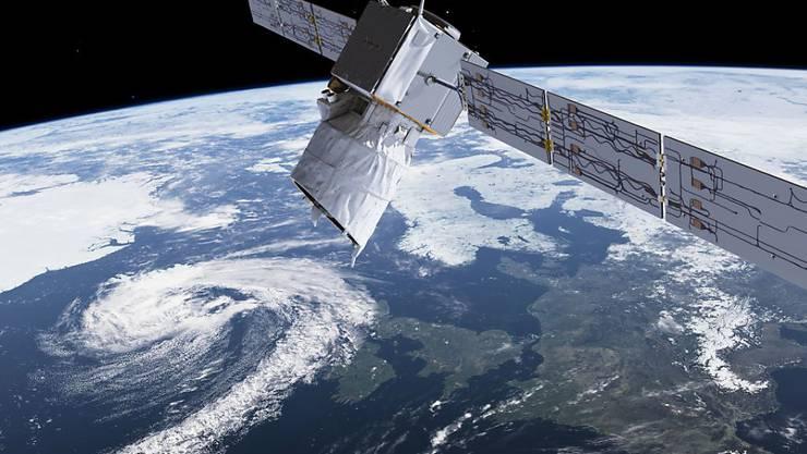 """Computerbild des europäischen Erdbeobachtungssatelliten """"Aeolus"""". Die Daten der mit Schweizer Technik ausgerüsteten Sonde sollen die Wettervorhersagen verbessern. (Archivbild)"""