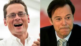 Christoph Mörgeli (rechts) soll seinen Parteikollegen Roger Köppel (links) vor allem in den Themen unterstützen, die in der Aussenpolitischen Kommission (APK) behandelt werden.