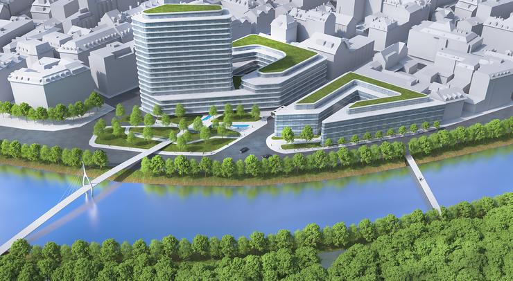 Von Wasser und Grün umgeben: Auch in dieser Variante soll es Platz für Bäume und einen Park geben.