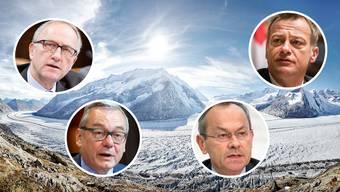 Bürgerliche wie Peter Hegglin (CVP/ZG), Martin Landolt (BDP/GL), Olivier Français  (FDP/VD) und Ruedi Noser (FDP/ZH)  (im Uhrzeigersinn) engagieren sich für die Gletscher-Initiative. Im Hintergrund der schrumpfende Aletschgletscher.