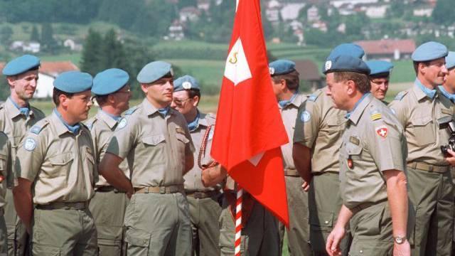 Schweizer UNO-Blaumützen bei der Ausbildung (Archiv)