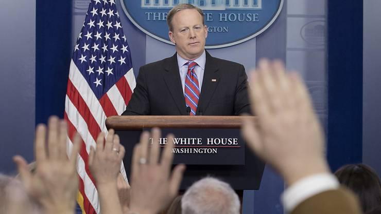 Der Sprecher des Weissen Hauses, Sean Spicer, vor Journalisten im Weissen Haus.