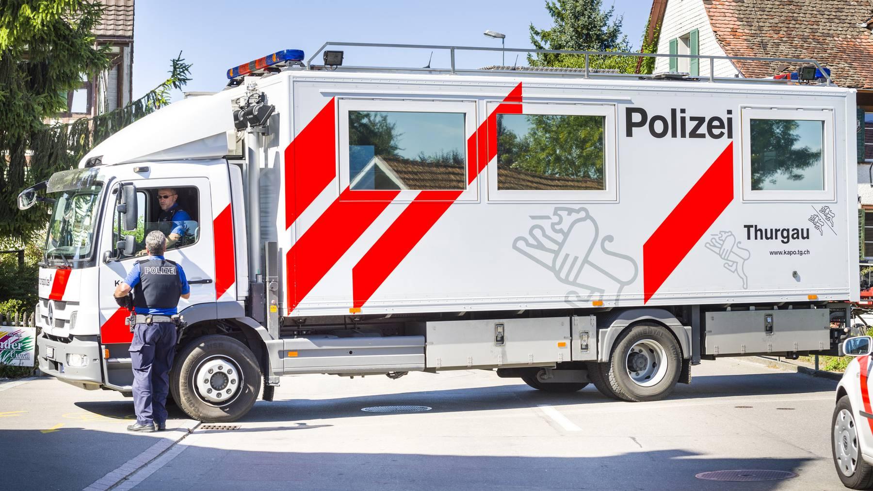Die Thurgauer Polizei letzten Sommer im Einsatz in Fall Hefenhofen im letzten Sommer. (Archivbild)
