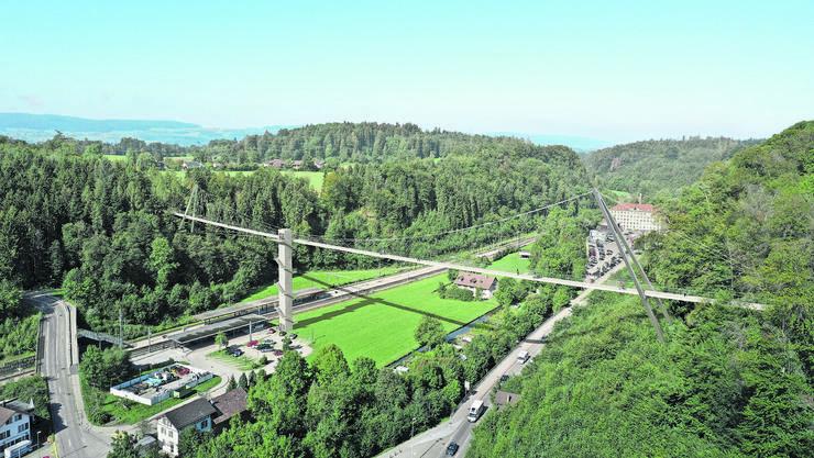 Über das Tal: Eine Hängebrücke für Fussgänger und Velofahrer soll die Ortsteile Sack und Seegräben miteinander verbinden.