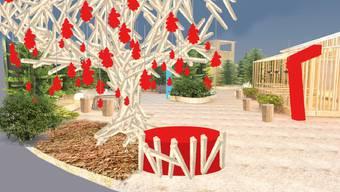 Ein «Wunschbaum» wird die HESO-Besucher beim Eingang der Sonderschau 2018 empfangen.