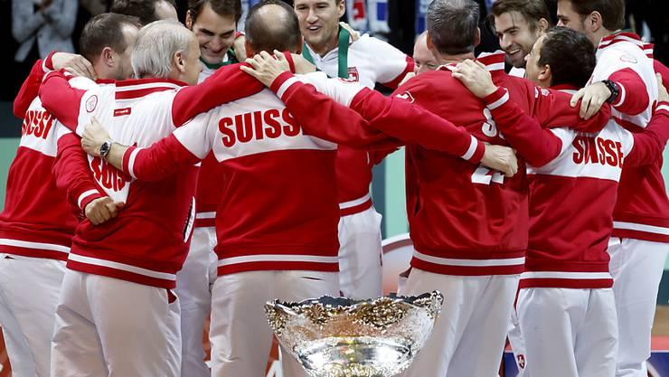 Kann das Schweizer Davis-Cup-Team Mitte September gegen Weissrussland auch so jubeln?