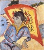 Nicht kategorisierbar: Kirchner Ernst Ludwig, Erna mit Japanschirm (Japanerin). 1913