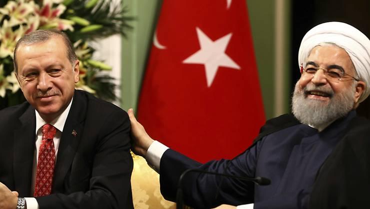 Die einstigen Rivalen Iran und Türkei rücken näher zusammen: Der türkische Präsident Recep Tayyip Erdogan (links) und Irans Präsident Hassan Ruhani bei der Pressekonferenz im Rahmen des Besuchs von Erdogan im Iran.