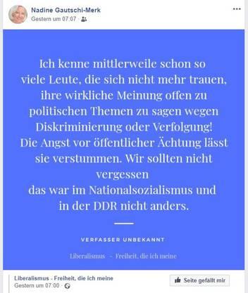 Nadine Gautschi, Facebook-Beitrag, aufgerufen am 16.2.2020