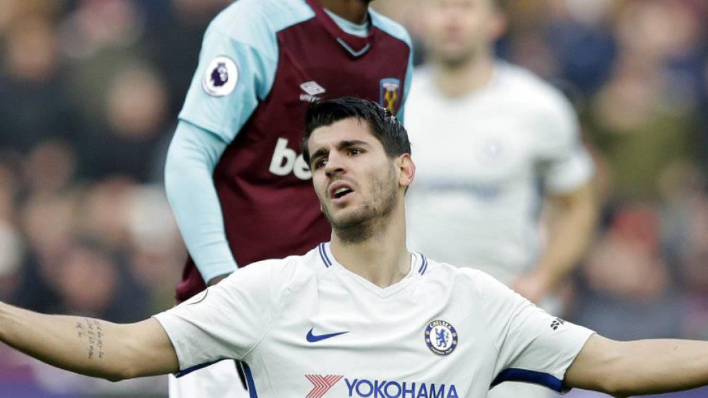 Haderte in dieser Aktion mit einem Schiedsrichter-Entscheid und am Ende auch mit dem Resultat: Chelseas Alvaro Morata