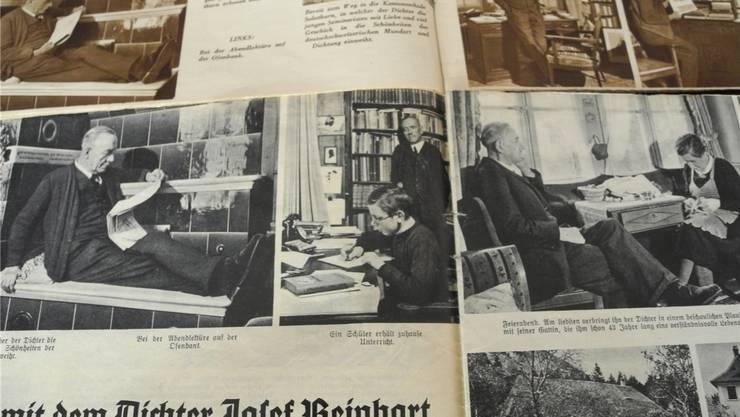 Ausschnitte aus einer Reportage zum 65. Geburtstag von Josef Reinhart. In der Mitte der GrenchnerErwin Wiedmer als 12-Jähriger, der Josef Reinhart vorlas.