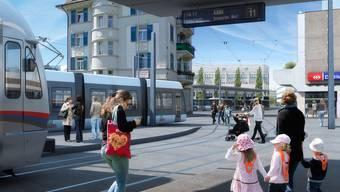 Visualisierung des Bahnhofs Dietikon mit der Limmattalbahn