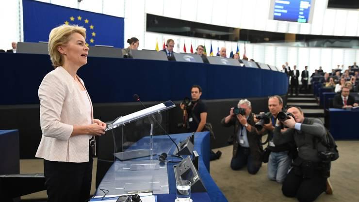 Ursula von der Leyen setzt sich bei ihrer Rede im EU-Parlament fürs Thema Nachhaltigkeit ein.