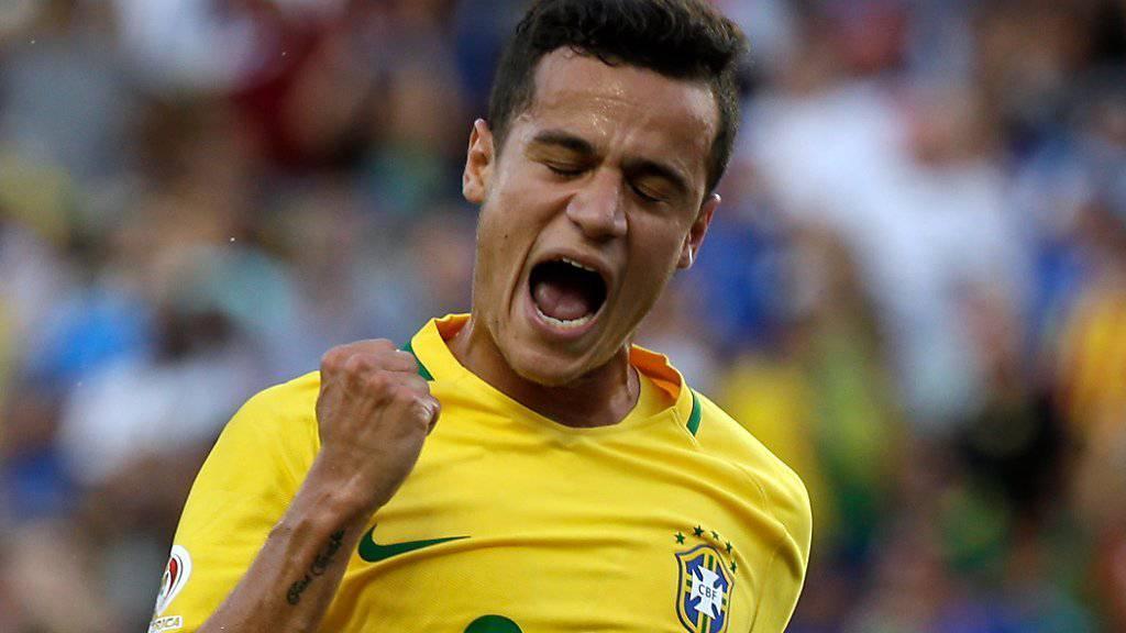 Dreifacher Torjubel: Brasiliens Philippe Coutinho