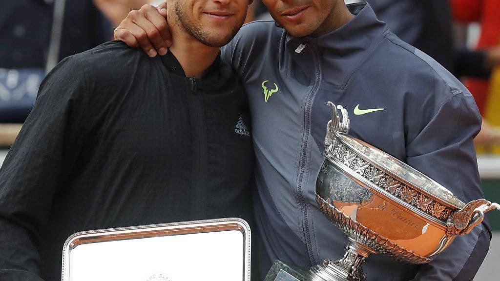 Im French-Open-Final Gegner, beim Laver Cup im September in Genf Teamkollegen: Dominic Thiem (li.) und Rafael Nadal