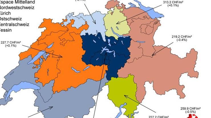In der Schweiz sind die Angebotsmieten im Oktober um ein halbes Prozent gesunken.