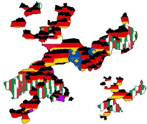 Diese Karte zeigt auf, in welcher Gemeinden welche Nationalität prozentual am meisten wohnhaft ist.