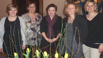 Der fünfköpfige Vorstand: Bodil Wahlström, Ruth Sonderegger, Jeannette Widmer, Gaby Itin und Esther Buser (von links). zvg