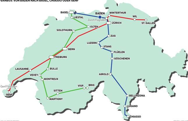 Fernbus: Von Baden nach Basel, Chiasso oder Genf