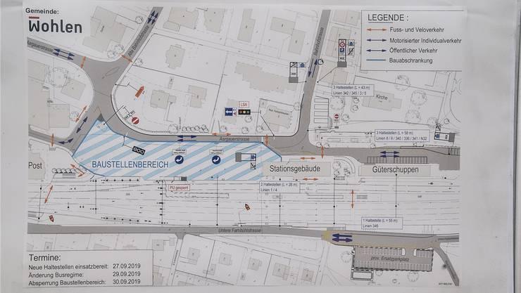 Planskizze der ab 29. September geltenden neuen Verkehrsführung im Bereich des Bahnhofs Wohlen.