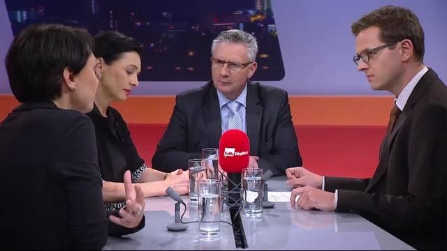 Die Talk-Gäste Yvonne Feri, Marianne Binder und Andreas Glarner sind sich uneinig über die Wirkung von unterirdischen Asylunterkünften
