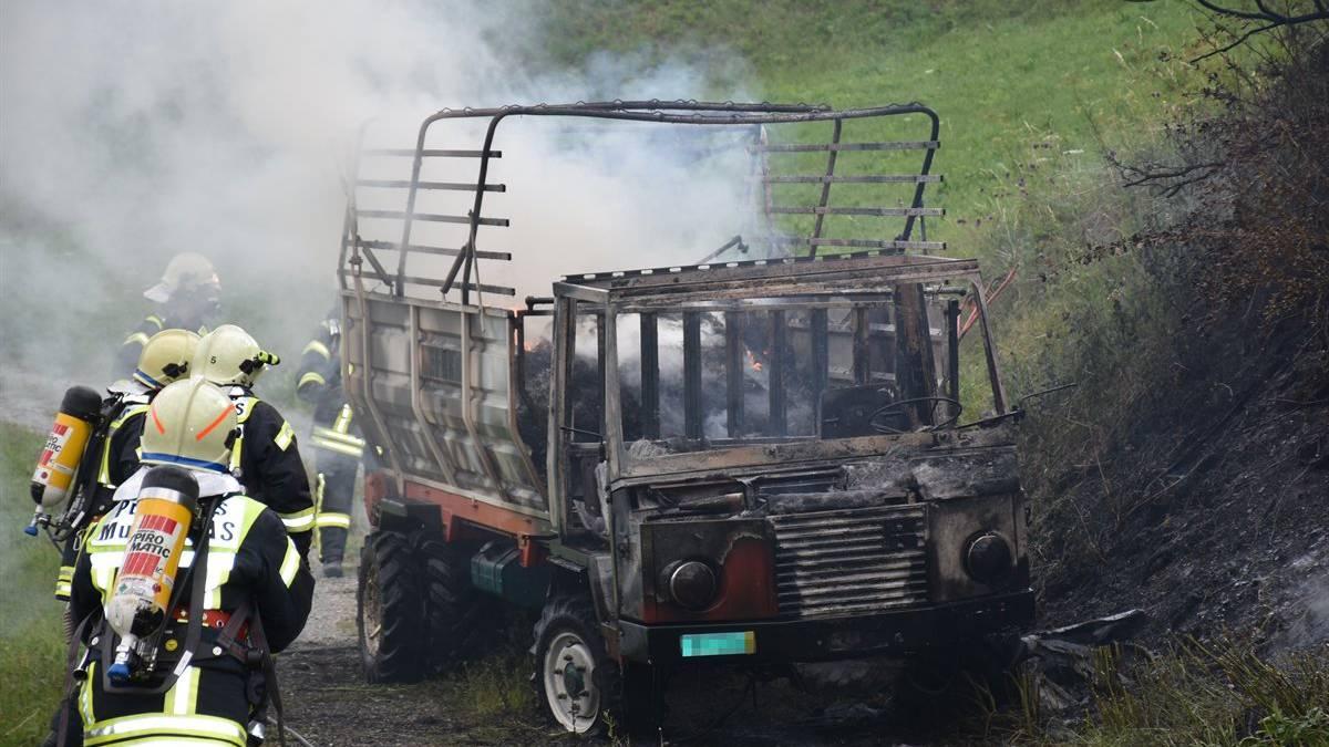 Das Fahrzeug wurde bei dem Brand komplett zerstört.