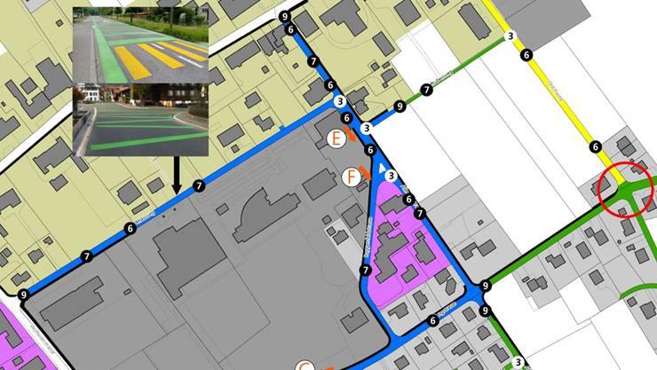 Die Begegnungszone (blau markiert) rund um die Schulanlagen (links Kreisschule Gäu) hat eine beachtliche Grösse. Illustration: zvg