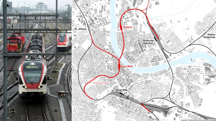 Seit unzähligen Jahren laufen die Planungen und Vorbereitungen für eine unterirdische Verbindung durch die Innenstadt zwischen den beiden Basel Bahnhöfen SBB und Badischer Bahnhof.