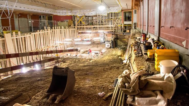 Aufnahme der Ausgrabungen im Basler Stadtcasino.