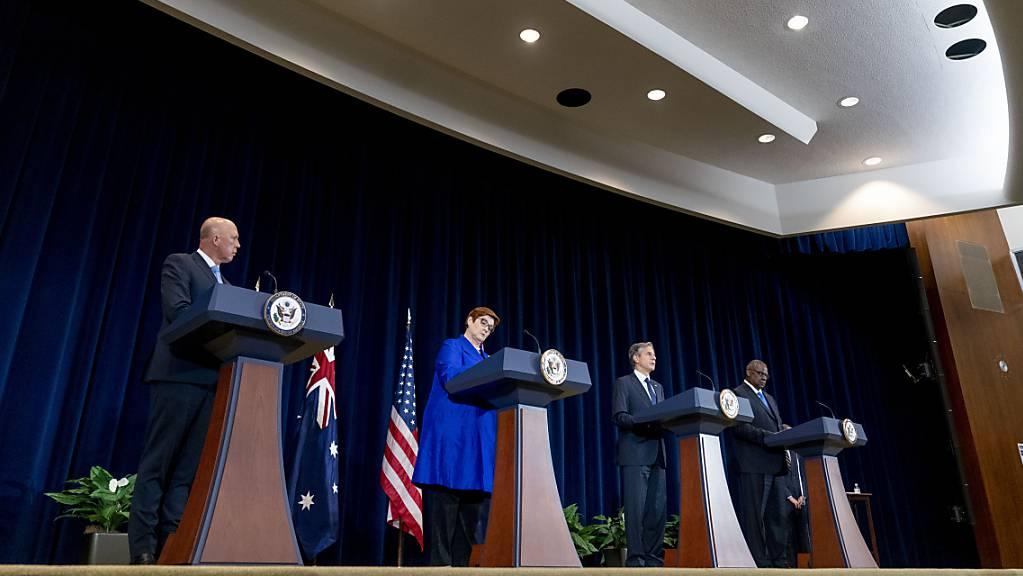 Mit einem neuen Sicherheitspakt im Indopazifik haben die USA, Großbritannien und Australien Verbündete vor den Kopf gestoßen und ein deutliches Signal an China gesendet. Foto: Andrew Harnik/AP Pool/dpa