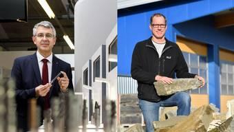 Josef Maushart, CEO der Fraisa AG, und Thomas Lüthi, Vize-Geschäftsführer der Gartenbaufirma Egger AG.