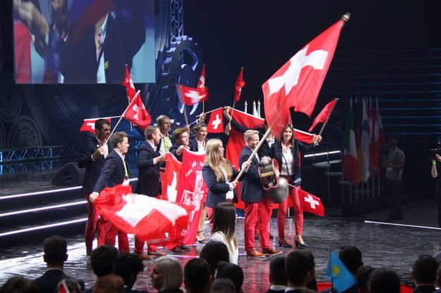 Die Schweizer Delegation an der Eröffnungsfeier in Budapest.