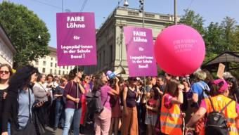 Der Protest der Basler Logopädinnen, wie hier am Frauenstreiktag, hat sich – wortwörtlich – gelohnt.