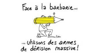 Stift gegen die Barbarei, Motto der Demo in Mulhouse.