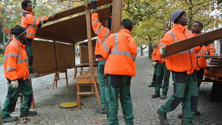 Der 33. Aarauer Rüeblimärt kann kommen - Asylsuchende helfen beim Aufbau.