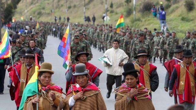 Soldaten protestieren in La Paz