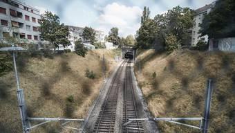 Ausblick auf den derzeit noch offenen Streckenabschnitt der Elsässerbahn beim Morgartenring.
