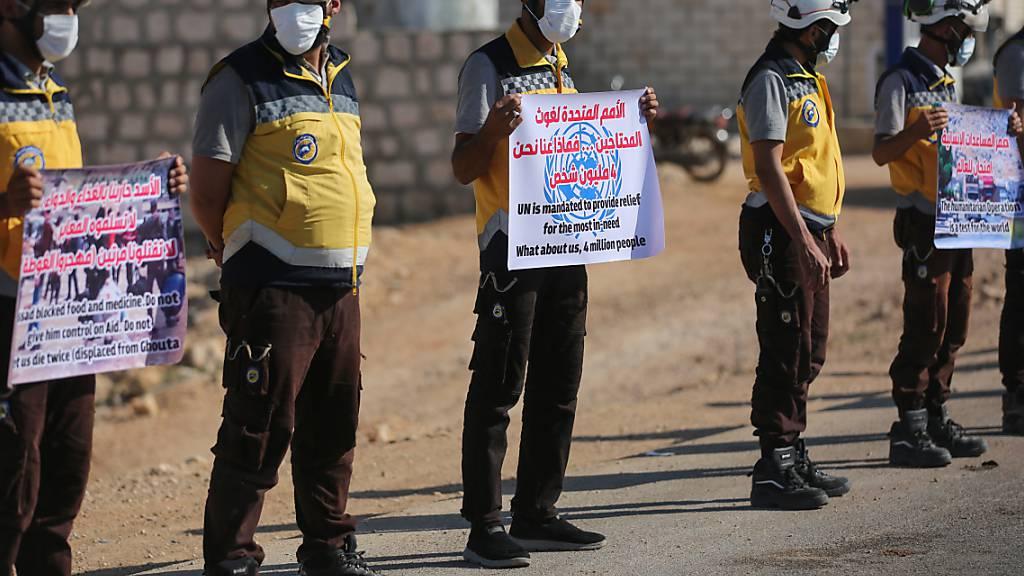 Protest gegen drohende Grenzschliessung in Syrien zur Türkei