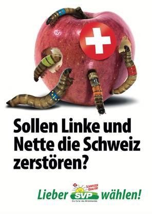 Das Apfel-Plakat der SVP, das für einen Aufschrei sorgte.