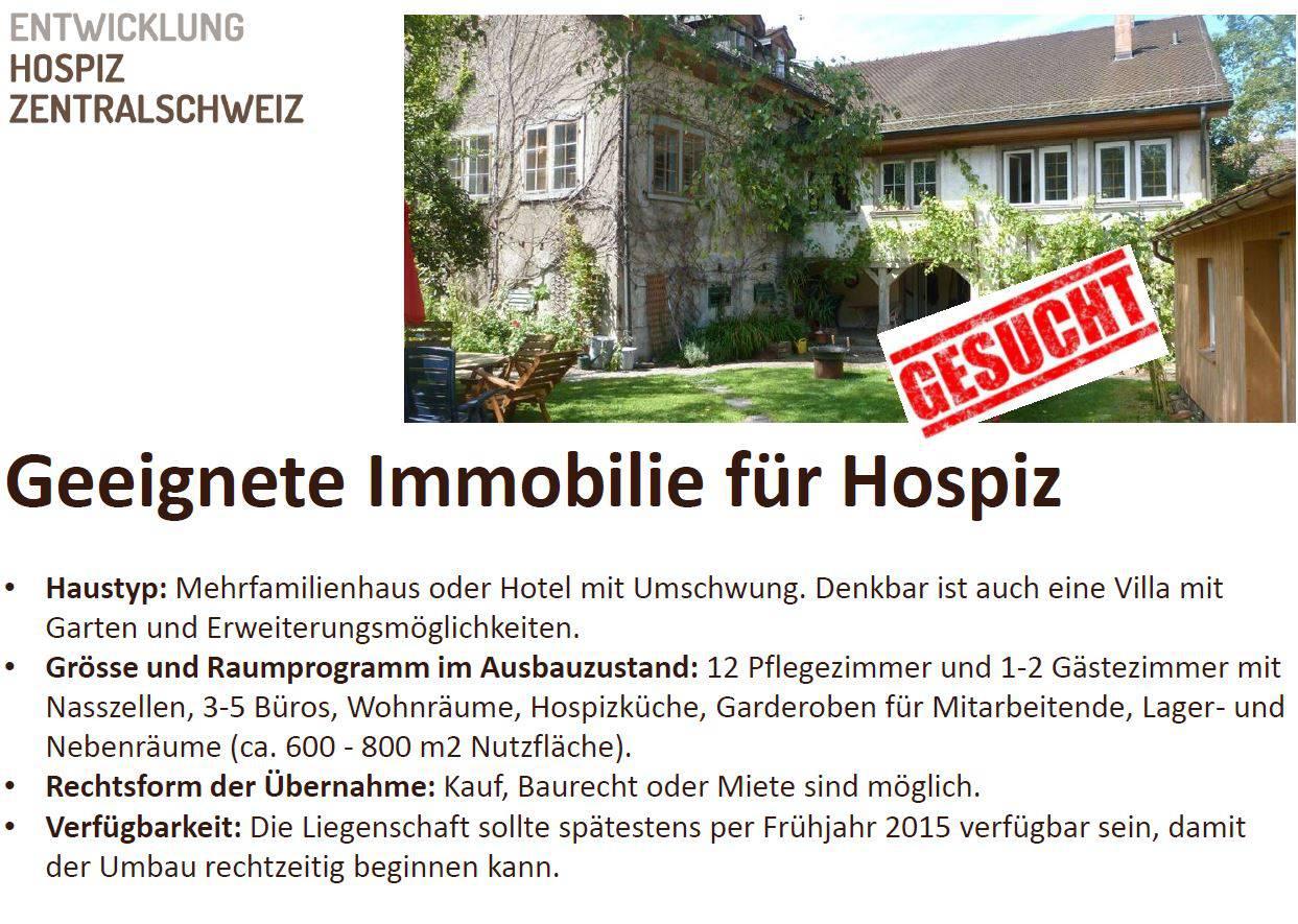 Hospiz sucht geeignete Immobilie zwischen Zug und Luzern