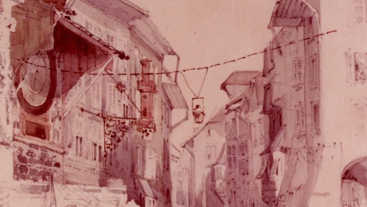 Die alte Ölbeleuchtung auf dem Solothurner Marktplatz (zvg)