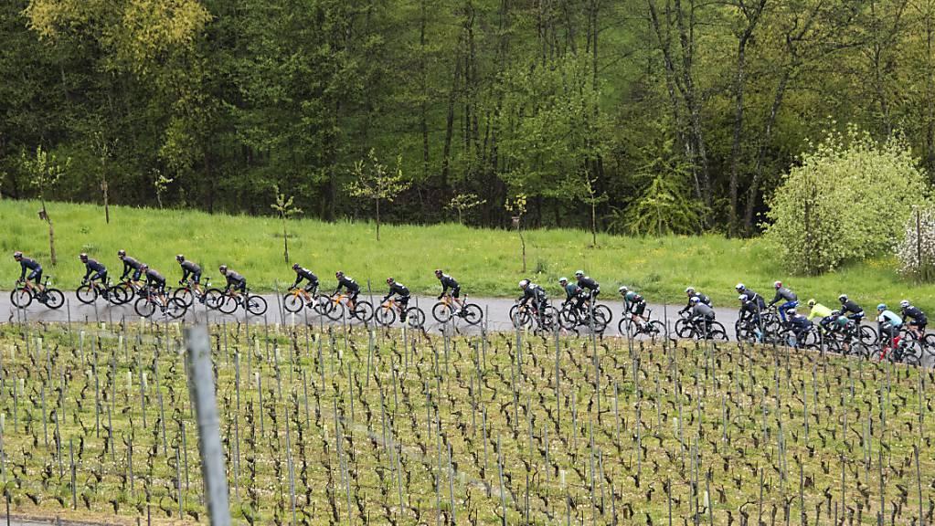Das in die Länge gezogene Feld an der 74. Tour de Romandie.