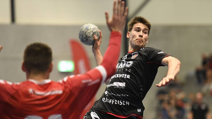 HSC-Rückraumspieler Manuel Zehnder (r.) im Abschluss gegen Endingens Milomir Radovanovic am Aargauer Cup.