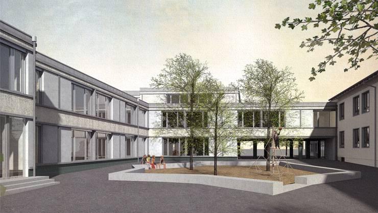 Blick in den Innenhof des neuen Schulhauses.