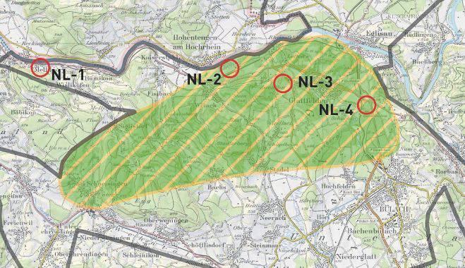 In der Region Nördlich Lägern kommen vier Standorte für eine Oberflächenanlage als Zugang zu einem Tiefenlager infrage: Mellikon/Rekingen (NL-1), Weiach (NL-2), Glattfelden (NL-3) sowie Glattfelden/Bülach (NL-4).
