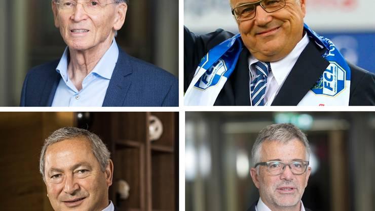 Im Uhrzeigersinn von links oben: Hans Schmid (Bild: Matthias Jurt), Bernhard Alpstaeg (Bild: Philipp Schmidli), Marco Sieber (Bild: Matthias Jurt) und Samih Sawiris (Bild: Keystone).